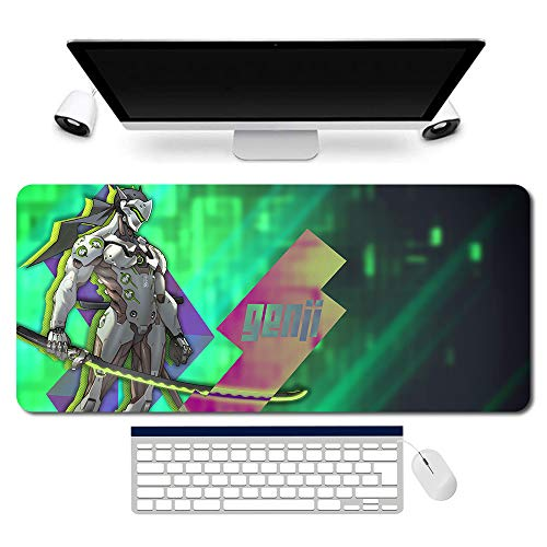 704115de - OW/Overwatch Mauspad Gaming Mousepad für PC Wars Gaming Large Table Mats (35.4×15.7 in / 90x40 cm) Support Customized,Extended Overwatch Mouse Mats Non-Slip Desk Pads genji Jesse·Mccree