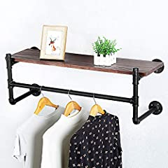 Industrial Pipe Clothing Rack Wall Mounted with Real Wood Shelf,Rustic Retail Garment Rack Display Rack Cloths Rack,Pipe Shelving Floating Shelves Wall Shelf,36in Steam Punk Commercial Clothes Racks #2