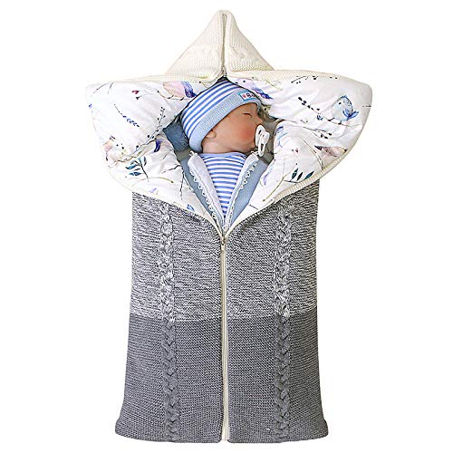 iFCOW Saco de dormir de punto para bebé recién nacido niño invierno 0 – 6 meses multifunción intercambiable ajustable Swaddle blanco cálido
