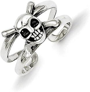 Lex & Lu Sterling Silver Antiqued Skull Toe Ring