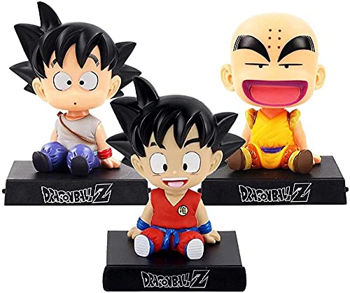 XIAOGING 3 uds Bobble Head Action Son Goku Figura Krillin Shake Head Head Holder Soporte decoración de Coche Modelo de Anime PVC Juguetes Regalos 13cm