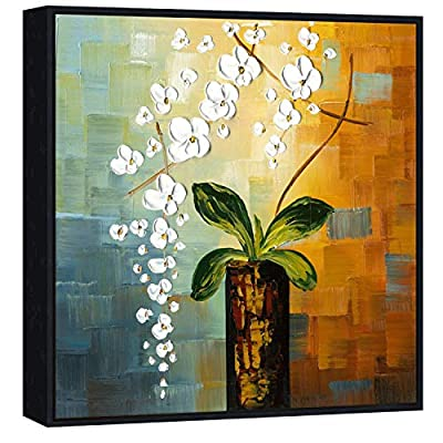 Wieco Art - Beauty of Life 100% Hand-Painted Modern Canvas Wall Art Floral Oil Paintings on Canvas