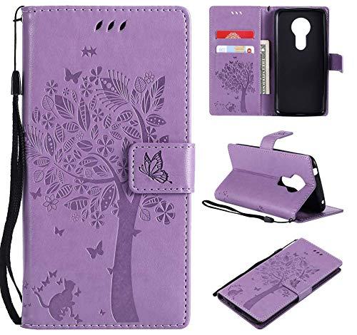 CMID Moto E5 Hülle, Moto G6 Play Hülle, PU Leder Brieftasche Handytasche Flip Bookcase Schutzhülle Cover [Ständer][Handschlaufe] für Motorola Moto E5 / Moto G6 Play (A-Hellviolett)