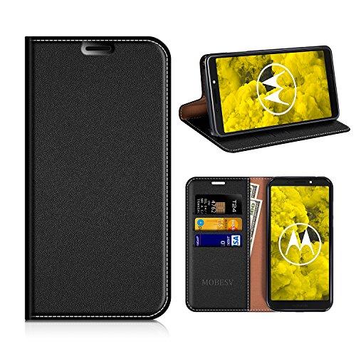 MOBESV Moto G6 Play Hülle Leder, Moto G6 Play Tasche Lederhülle/Wallet Hülle/Ledertasche Handyhülle/Schutzhülle mit Kartenfach für Motorola Moto G6 Play - Schwarz