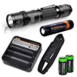 EdisonBright Fenix PD35 TAC 1000 Lumen CREE LED Tactical Flashlight, Fenix ARE-C1 two bays Li-ion battery charger, Fenix 18650 3400mAh rechargeable battery with Two CR123A Lithium Batteries