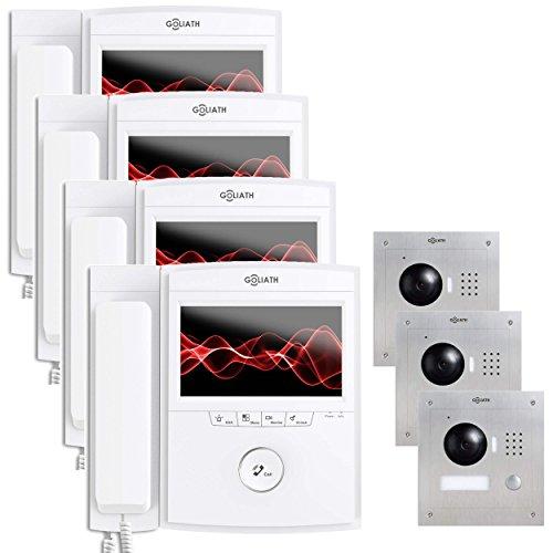 Goliath IP deurbel met camera en monitor, inbouw deurstation, roestvrij staal, HD-camera, app, deuropener, terugmeldfunctie, videogeheugen, 1 familiehuis-set, AV-VTC103