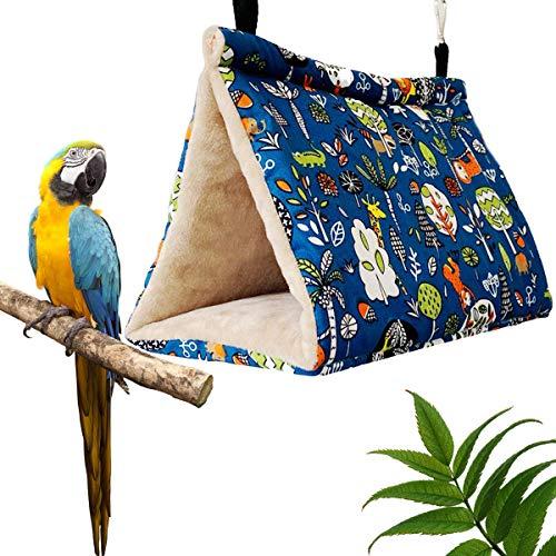 EnweHiko Warmes Vogelnest für kleine Haustiere, Papageien, zum Aufhängen, Höhle aus Plüsch, mit 2 Ersatz-Thermo-Pads, für den Winter, warme Hängematte, Größe M