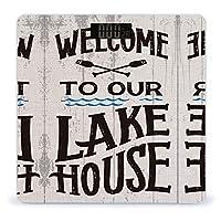 Welcome to Our Lake House 体重計、ステップオンテクノロジーを備えた精密デジタルボディバスルームスケール、強化ガラスイージーリードバックライト付きLCDディスプレイ
