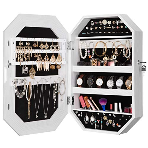 LANGRIA Lockable Jewelry Cabinet Organizer with Mirror, Diamond-Shaped Jewelry Armoire Wall Mounted for Space Saving Storage