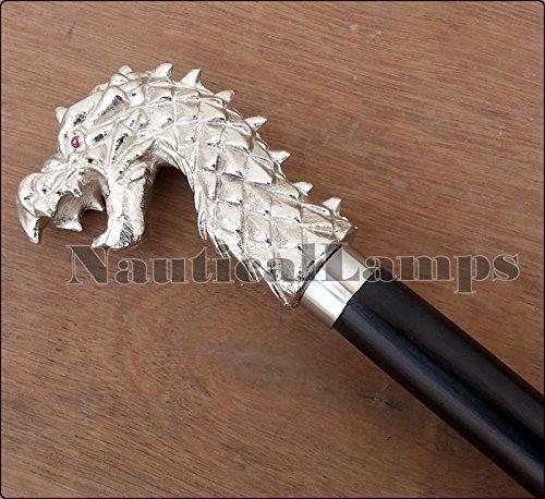 Asmara Gehstock, nautisch, handgefertigt, schönes Design, Drachenkopf, Holz, 94 cm