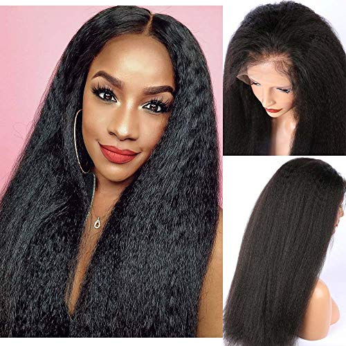 ALYSSA Italian Yaki Full Lace Wig with Baby Hair for Black Woman Kinky Straight Pre Plucked Human Hair Wigs Top Grade Glueless Wig For Black Women (16inch, Natural Color)
