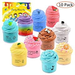 Your order includes 10 pack butter slime kit, with mint slime, watermelon slime, coffee slime, lemon slime,stitch slime and cake slime. The slime is non-sticky and the color doesn't come off on your hands,it provides a great sensory experience that s...