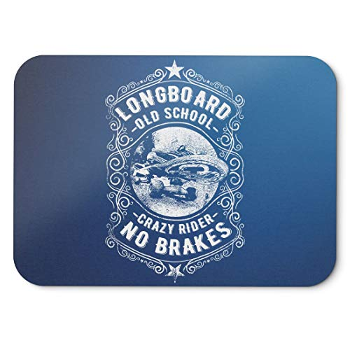 BLAK TEE Longboard Old School Crazy Riders No Brakes Just Fun Slogan Mouse Pad 18 x 22 cm in 3 Colours Blue