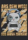 Notizbuch A5 kariert mit Softcover Design: Gamer Katze Kätzchen Geschenk Gaming Headset Spieler: 120 karierte DIN A5 Seiten
