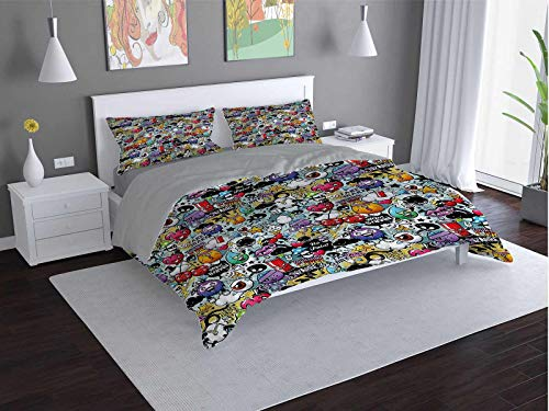 Toopeek Cartoon 3-pack (1 duvet cover and 2 pillowcases) Grafitti-Creatures-Spray Polyester (Twin)