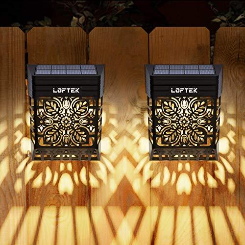 LOFTEK Solar Deck Lights, Solar Fence Lights Outdoor Garden Decorative Lights Waterproof Wi…