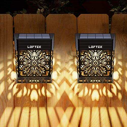 LOFTEK Solar Deck Lights Outdoor, Solar Fence Wall Lights Led Garden Decorative Lighting Waterproof Automatic Solar Patio Lamps for Front Door, Stair, Path, Pool, Post, Backyard, Warm White, 2 Pack