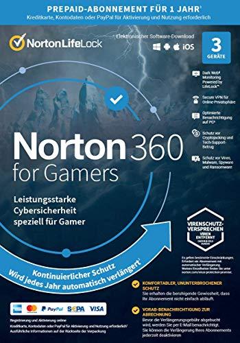 Norton 360 for Gamers | 3 Geräte | Cybersicherheit für PC-Gamer | 1-Jahres-Abonnement mit automatischer Verlängerung | PC, Mac oder Mobilgerät | Aktivierungscode per Email
