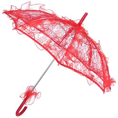 RETYLY Lace Sombrilla Boda Flor de Encaje Boda Novia Parasol Paraguas Rojo