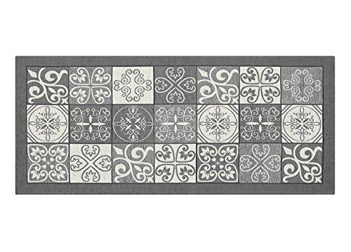 BIANCHERIAWEB Tappeto con Retro Antiscivolo da Cucina Disegno Maiolica By Suardi 55x240 Grigio