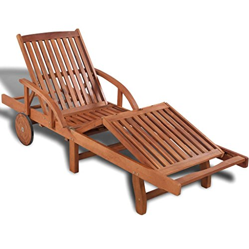 Lepeuxi Outdoor Chaise Lounge Wood Pool Chair with Wheels Patio Daybed Sun Lounger Solid Acacia Wood
