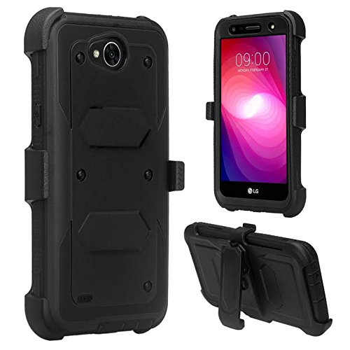 Compatible for LG X Power 2 Case, LG Fiesta 2 Case, LG X Charge Case, LG X Power 3 Case, SOGA Shockproof Rugged Hybrid Armor Cover with Belt Clip Holster & Built-in Screen Protector - Black