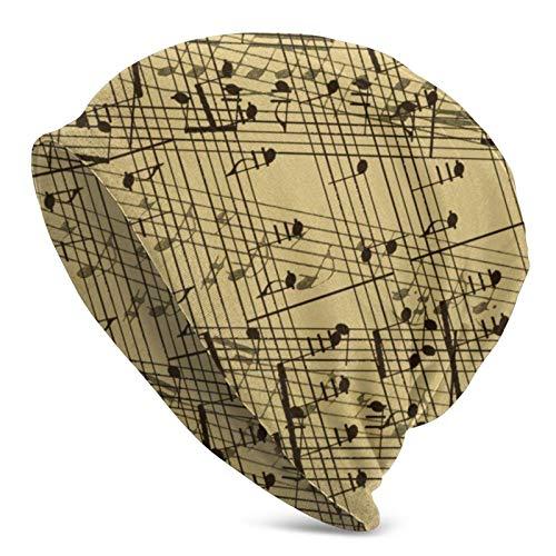 BGDFN Gorro de Punto con patrón de Notas Musicales, Gorro cálido, Gorro de Calavera con puños Suaves elásticos, Gorro Diario para Unisex, Negro