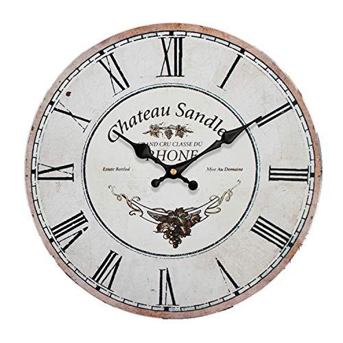 Chaick Pendules Murales Et Horloges DéCoratif Fois RéTro Batterie Ronde 30/34/40/50cm,Castle,34cm