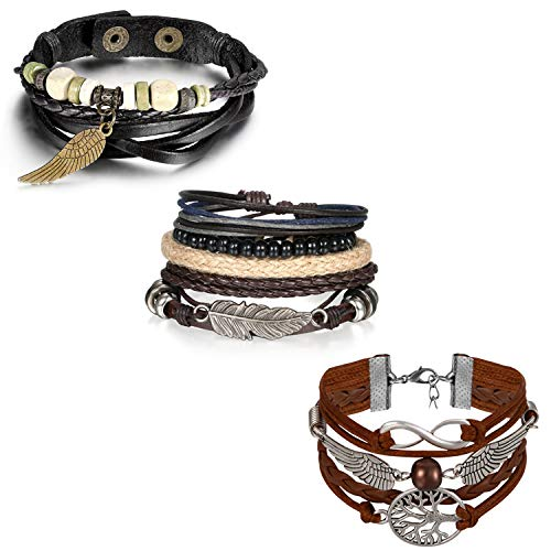 OIDEA Herren Leder Armband Set (8PCS Punk Rock Stil geflochtene Verstellbar handgefertigt Manschette Kordelkette Armreifen, Legierung, braun schwarz (Set 1) (lebensbaum Set)