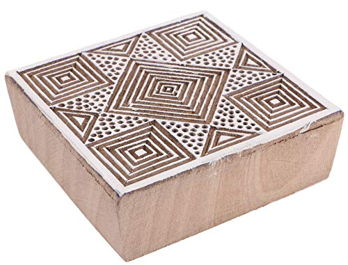 Guru-Shop Indischer Textilstempel, Stoffdruckstempel, Blaudruck Stempel, Holz Model - 7x7 cm Stern 2, Braun, Indische Holzstempel