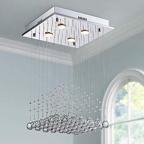 Saint Mossi K9 Crystal Rain Drop Chandelier Modern & Contemporary Ceiling Pendant Light H22 X W16 X L16