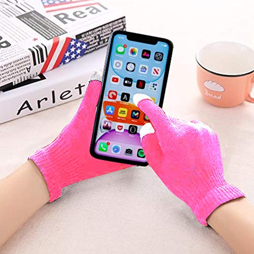 i-Tronixs Winter Touch Screen Stretch Knitted Warm Windproof Solid Color Gloves For Men and Women Compatible with Motorola G8 (Pink)