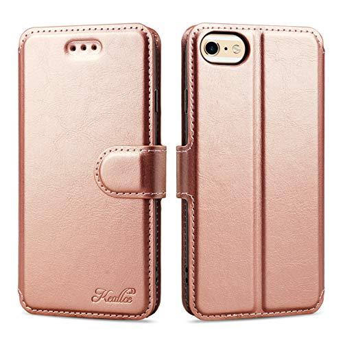 Keallce Flip Custodia Compatibile per iPhone 6/6s/7/8/SE 2020 Portafoglio Pelle Cover, Protettiva Premium Fondina Compatibile per iPhone SE 2020/iPhone 8/7/6/6s Case - 4.7', Oro Rosa