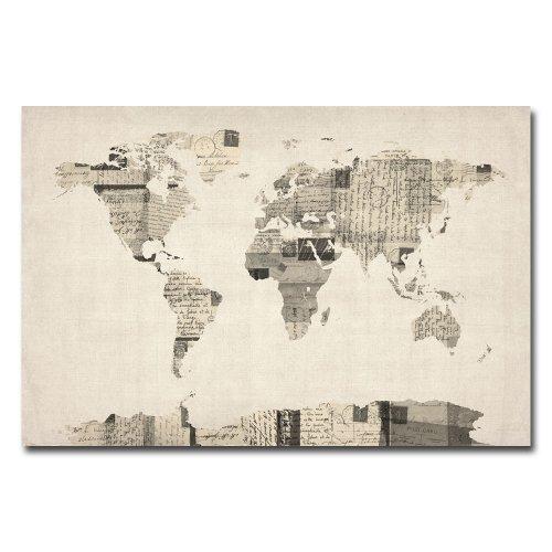 Vintage Postcard World Map by Michael Tompsett, 22x32-Inch C...