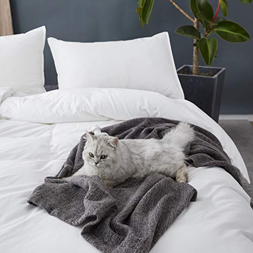 SORMAG Duvet Cover King Size 3 Piece, 100% Washed Cotton Comforter Cover, Solid Color and Ultra Soft with Zipper Closure, Corner Ties, Simple Bedding Style, White