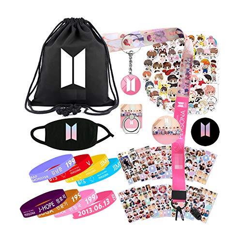 JKKFANS Fans Merchandise Set - Including Drawstring Bag, Face Mask, Bracelets, Stickers, Keychain, Lanyard, Phone Ring, Button Pins, Pink, Medium