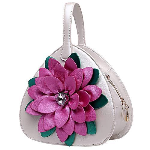 HQQ Pfirsich Herz Kleine Tasche Diamant Blume Handtasche Weiblicher Herztyp Liebestasche Umhängetasche (Color : Pearl White)
