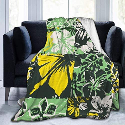 balaclava Manta polar de franela con diseño de flores de hibisco, ligera, supersuave y acogedora.