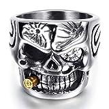 VQYSKO Bague Crâne Homme Punk Rock Acier Inoxydable Mégots de Cigarettes Crâne...