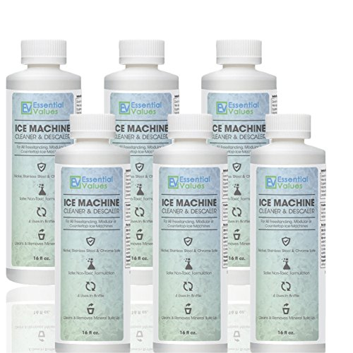 Essential Values 6 PACK Ice Machine Cleaner 16 fl oz, Nickel Safe Descaler | Ice Maker Cleaner Compatible with: Whirlpool 4396808, Manitowac, Ice-O-Matic, Scotsman, Follett & more! - Made in USA