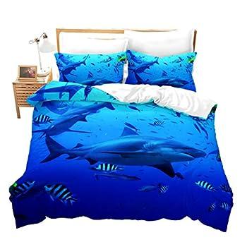 Erosebridal Blue Shark Bedding Sets Fish Duvet Cover Sea Life Comforter Cover Under Marine Cover Comfortable Bedspread,Decorative Bedding Sets 2 Pcs with 1 Pillow Sham  Twin