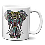 Planetacase Taza Elefante Mandala - Tazas de diseño Oriental y Original Regalo para Amigos y Familia Ceramica 330 mL