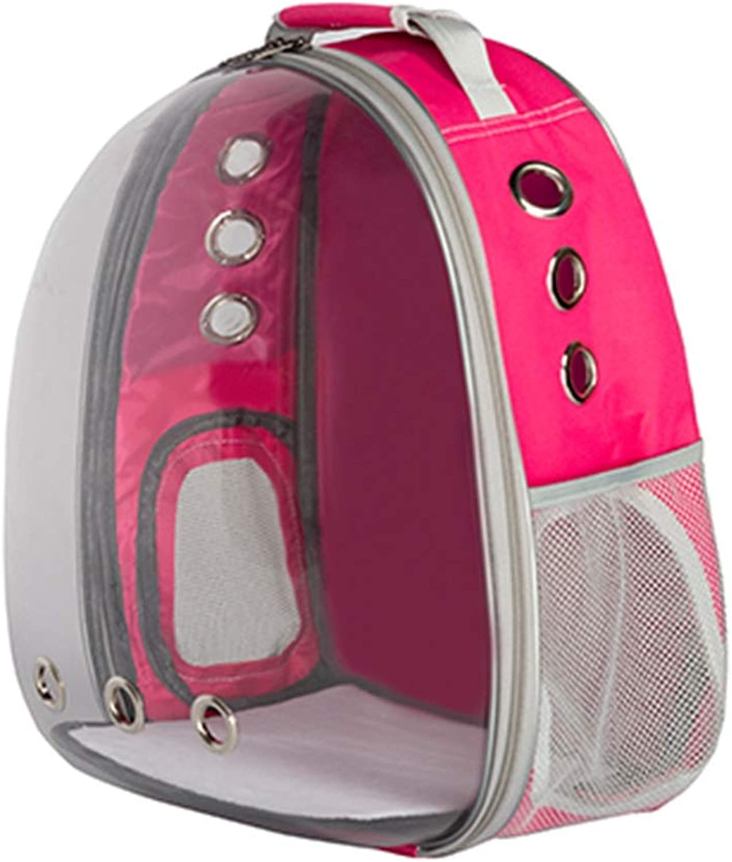 Pet Backpack Transparent Space Bag Outgoing Carrying Case Chest Shoulder Bags Handbag Dog Bags Cat Cage (color   Pink, Size   36X27X45cm)