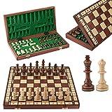 Master of Chess Jupiter 42 cm Juego de ajedrez de Madera único en su Clase Piezas ponderadas y Tablero de ajedrez Grande para niños para Adultos