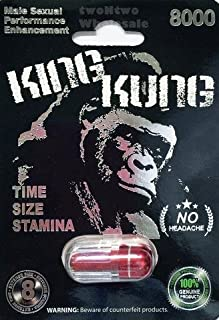 KING KUNG RED 8000 ALL NATURAL MALE ENHANCEMENT PILLS - 3 PACK