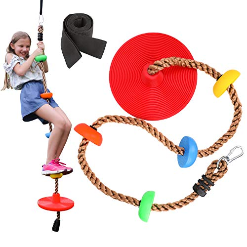 Sorbus Disc Rope Swing Seat - Kids Tree Climbing Rope, Zip Line Play Set with Seat, Outside Monkey Treehouse Play Swings for Outdoor Backyard, Playground Fun, Over 6ft, Red