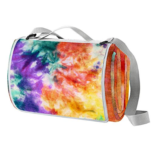 TIZORAX Picknickdecke mit Regenbogen-Batik-Druck, wasserdicht, Outdoor-Decke, faltbar, praktisch, für Strand, Camping, Wandern