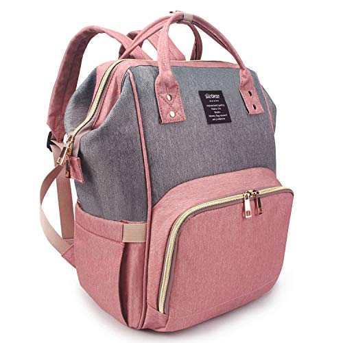 Qimiaobaby Changing Bag Backpack Waterproof Travel Baby Diaper Bag, Stylish Large Capacity Nappy Backpack with Changing Mat and Stroller Straps (Pink with gray)