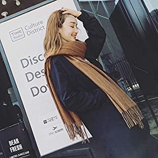 Winter Long Scarf Scarf Women's Autumn and Winter Stripes Long Section Thick Versatile Large Shawl Warm Scarf Dual-use (Color : Khaki) Winter Soft Scarf (Color : Khaki)