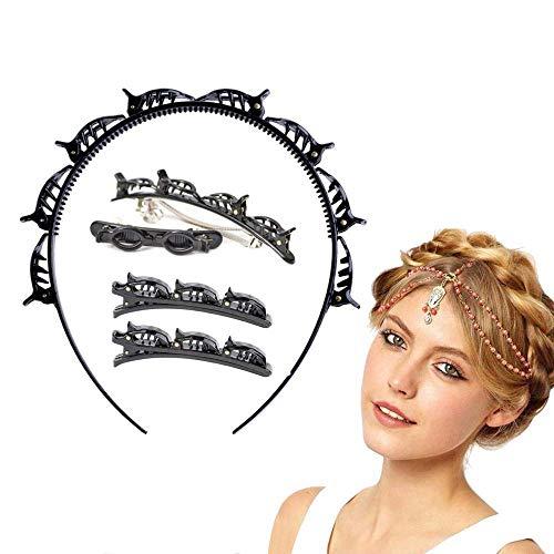 5 Piezas,Diadema con pinzas,Doble bangs Hairstyle Hairpin,Accesorios para peinados minimalistas,Diadema con pinzas niña,Diadema de Horquilla de Peinado (5negro)